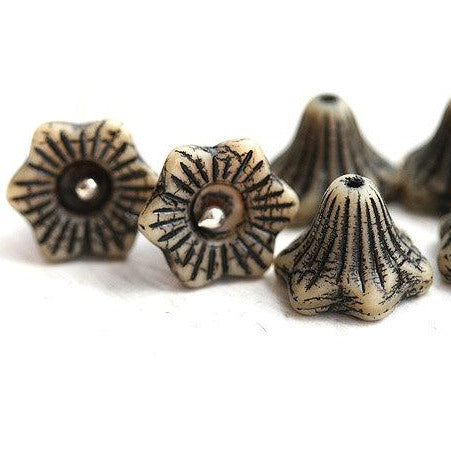13mm Flower Bell czech glass beads - Rustic Black and Beige - 6Pc