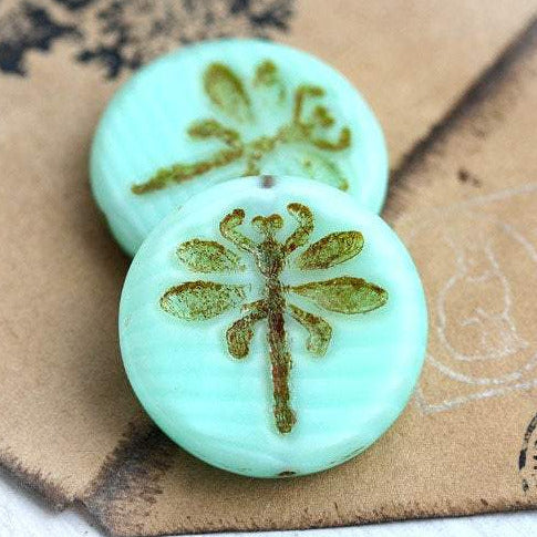 2Pc Czech Dragonfly beads - Mint Green Picasso - czech glass - 23mm