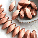 20pc Matte Copper Twist beads Copper color Czech glass beads - 12x6mm