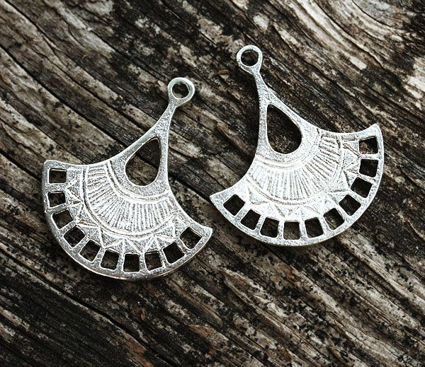 2pc Silver tone Earring connectors Teardrop charms
