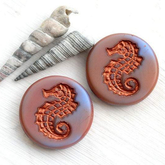 2Pc Large Seahorse czech glass beads - Mixed Blue Pink, Copper inlays