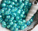 8/0 Toho seed beads, Inside Color Aqua blue Light Jonquil Lined N 954 - 10g
