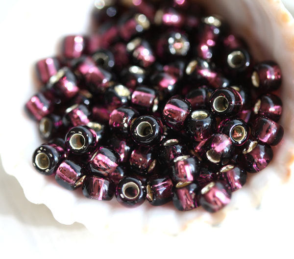 6/0 Toho seed beads, Silver Lined Amethyst N 26C purple - 10g