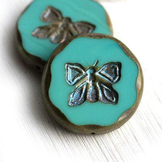 1pc Glass Butterfly bead,  Extra large Turquoise Green czech glass - 26mm