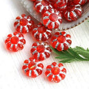 9mm Red czech glass beads Silver inlays Daisy floral beads - 20Pc