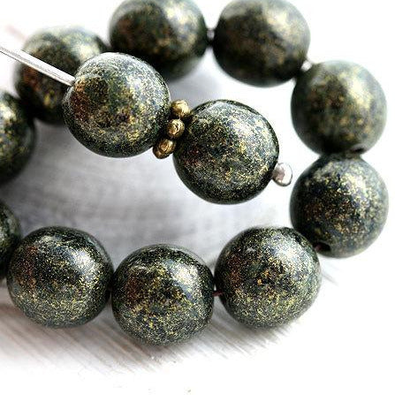 8mm Metallic Bronze Green Czech glass round druk beads - 20Pc