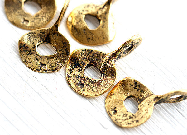 4pc Antique Gold Cornflake charms chunky charms