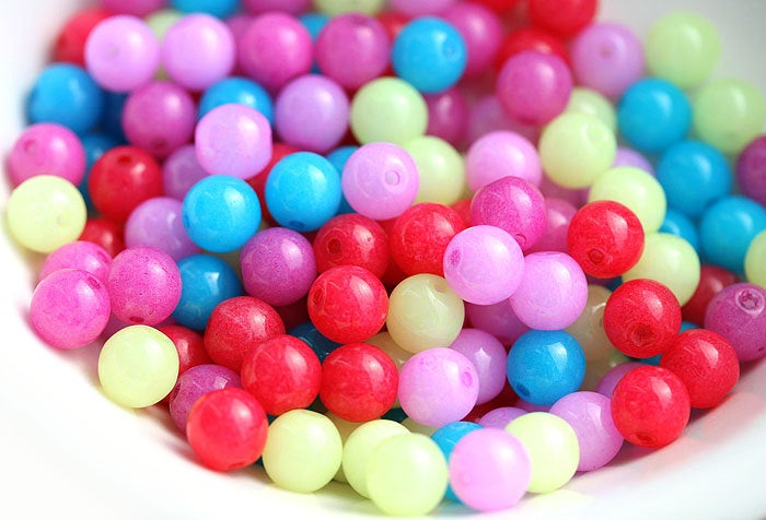 6mm Multicolor bright beads mix, Czech glass round spacers - 50Pc