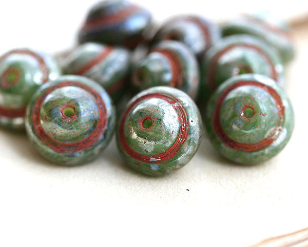2147 Picasso Saucer Czech glass beads UFO shape Rustic Olive green - 12Pc
