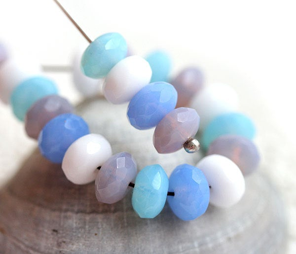 4x7mm Pastel beads mix, Czech glass - Blue, Pink, White, Sky blue - 25Pc