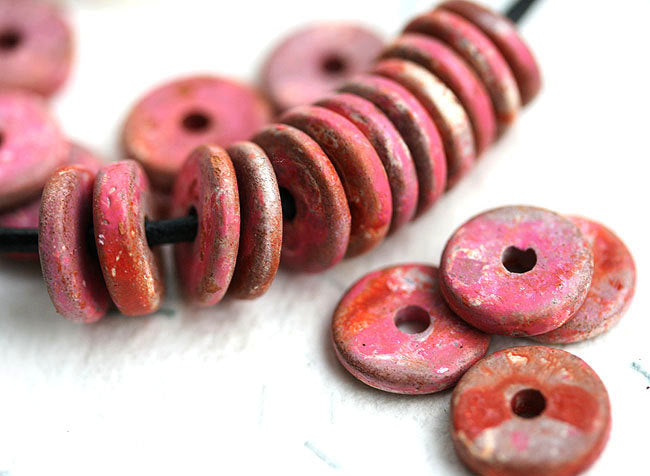25pc Pink red ceramic rondelle beads 13mm