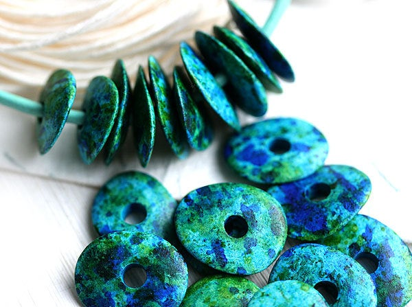 16mm Greek Ceramic Cornflake beads - Ocean Mix Blue Green Teal - donut, spacer - 10pc