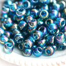 6/0 Toho seed beads, Transparent Rainbow Teal N 167BD - 10g