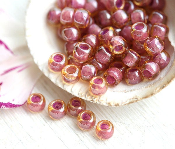 8/0 Toho seed beads, Inside Color Light Topaz Pink Lined  N 960 - 10g