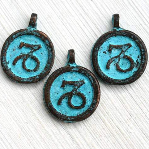 1pc Capricorn Zodiac charm, Patina on copper, Horoscope 15mm
