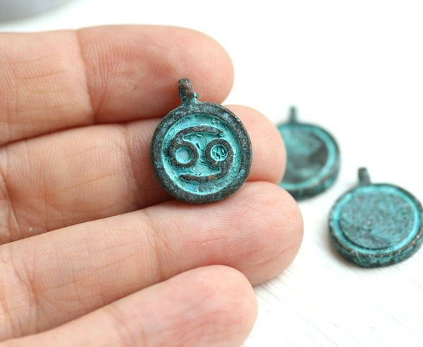 3pc Cancer sign charm Green Patina on copper, Horoscope 15mm
