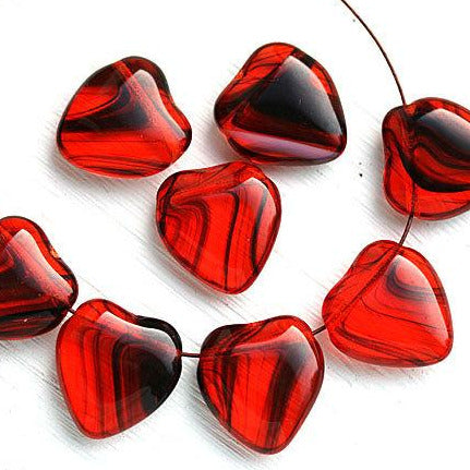 16mm Red Heart beads, top drilled, czech glass - 8Pc