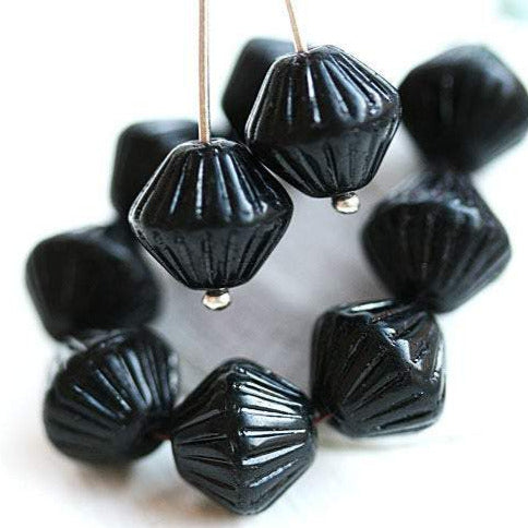 11mm Czech glass jet black large bicone beads 15pc