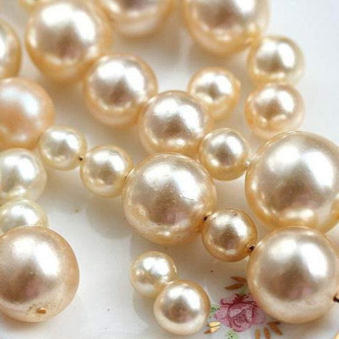 30g Pearl beads mix, czech glass faux pearls, champagne ivory cream beige