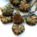 11x13mm Picasso Maple leaf beads, Dark green Czech glass leaves - 10Pc