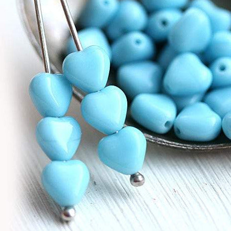 6mm Blue small Heart czech glass beads - 6mm