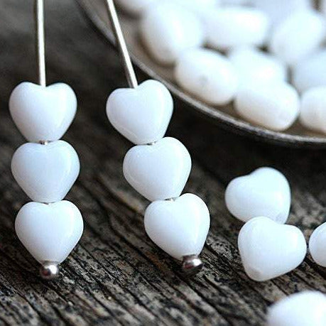 6mm White Heart Czech glass beads - 50pc