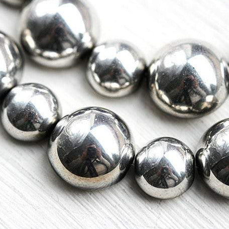 Silver beads mix Czech glass Dome half sphere beads - 10pc