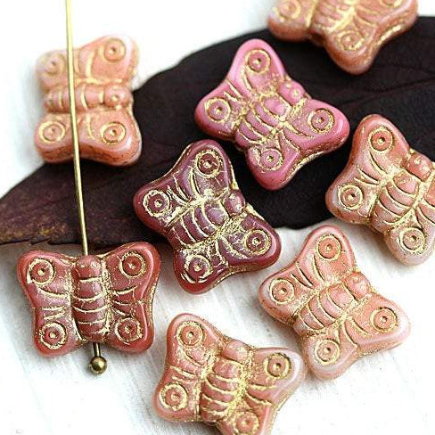 8pc Butterfly beads, Pink beads mix, golden inlays