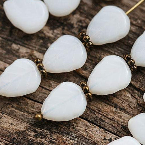 11x9mm Alabaster White leaf beads white leaves Czech glass - 25Pc