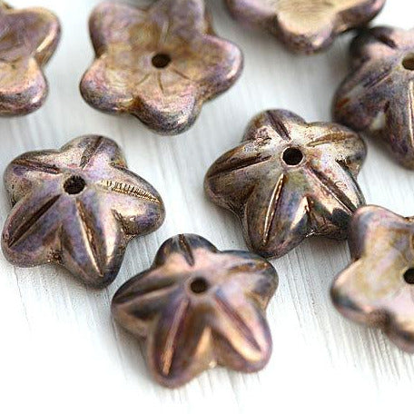 10mm Purple flower czech glass bead cap Picasso  Luster Purple - 10pc