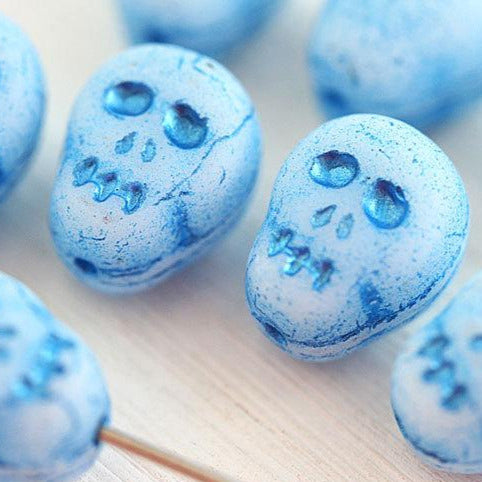 12mm Blue Skull Czech glass beads Halloween decor Skeleton Sugar Skull - 8Pc