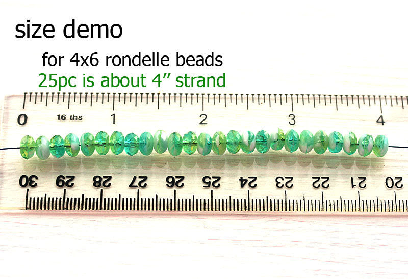 25pc White czech glass beads rondels, gemstone cut - 4x7mm