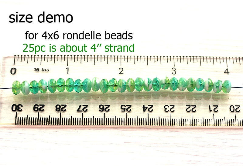 4x7mm Teal green beads mix, Czech glass rondelle bead spacers - 25Pc
