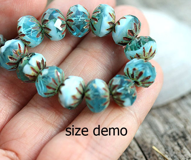 7x10mm Blue Mixed Picasso beads, Cruller Czech glass beads - 10Pc