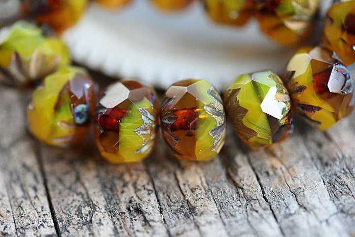 7x10mm Yellow brown rondelle Czech glass beads Picasso - 10Pc