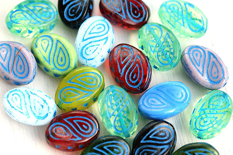 17x13mm Colorful czech glass beads mix, large oval - 10Pc