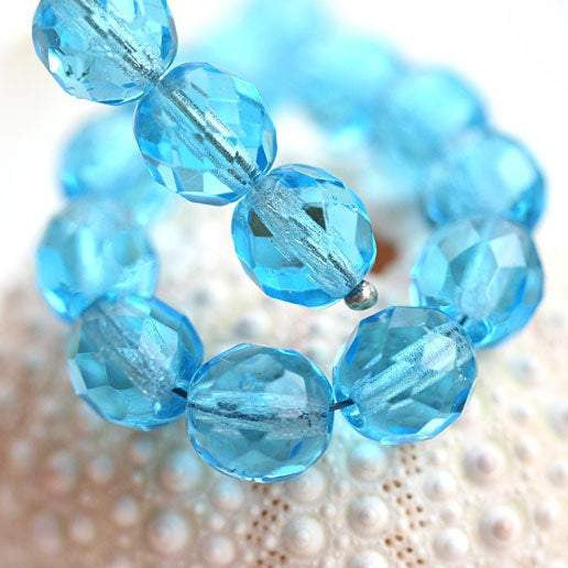 8mm Aqua blue czech glass beads, Fire polished round faceted spacers - 15Pc