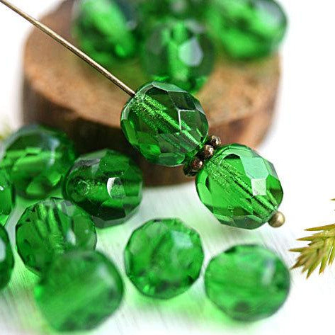 8mm Green Transparent Czech glass round fire polished faceted beads - 15Pc