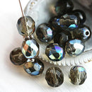 8mm Dark grey AB finish Czech round beads fire polished faceted beads - 15Pc