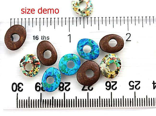 10mm Blue Cornflake beads Aegean mixed color 20pc