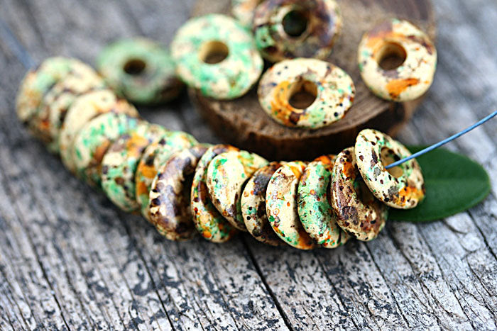 10mm Earthy colored beige orange ceramic rondelle beads 20pc