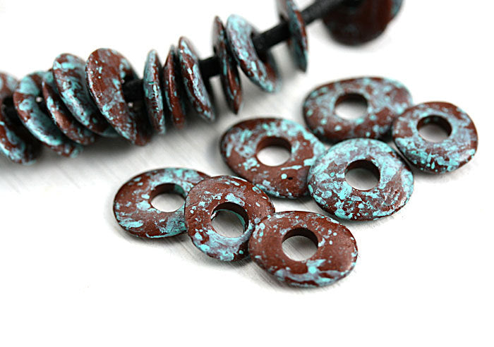 10mm Patinated Cornflake ceramic beads, Brown with turquoise 20pc