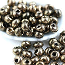 Preciosa Drop Seed beads, Metallic Vintage Bronze teardrop, size 5/0 - 10g