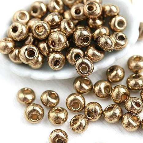 Preciosa Golden Seed beads, Gold Drop beads size 5/0 - 10g