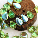 5x7mm Olivine PiP beads, Olive Green, AB finish czech glass flat drops - 40Pc