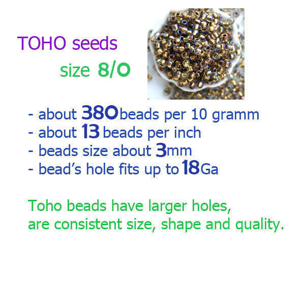 8/0 Toho seed beads, Transparent Lime Green Picasso Y315, hybrid - 10g