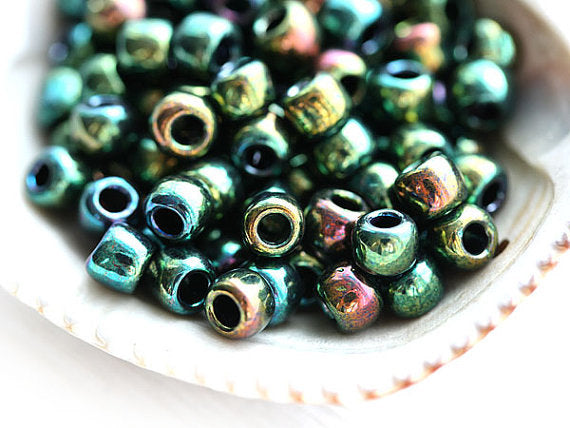 6/0 Toho seed beads, Higher Metallic Iris Green N 507 - 10g