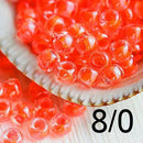 8/0 Toho seed beads, Luminous Neon Salmon N 803 orange - 10g