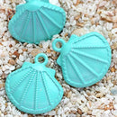 3pc Large Turquoise Oyster Shell charms, Painted Metal Casting