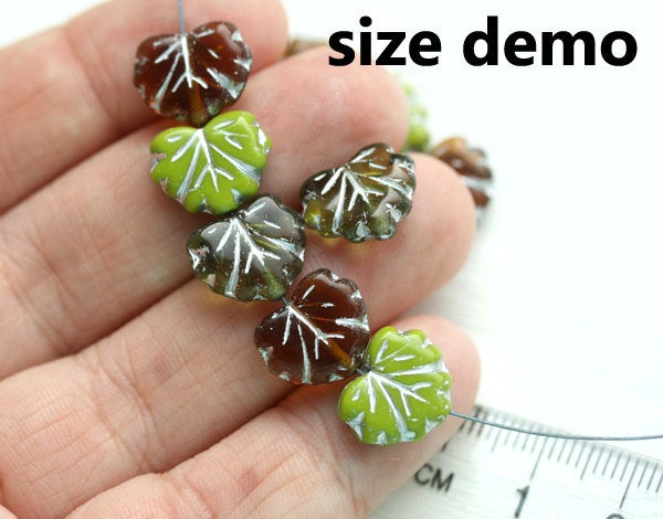 11x13mm Green brown leaf beads, Golden inlays Czech glass maple leaves 20pc